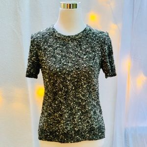 Ann Taylor Black White Nubby-Knit Sweater, Sz S